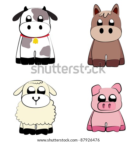 Farm animals set vector - stock vector