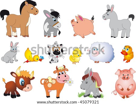 Farm animals vector - stock vector