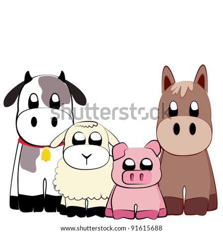 Farm animals vector - stock vector