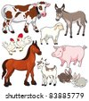Farm animals. Vector and cartoon isolated characters. - stock vector