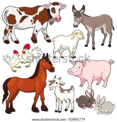 Farm animals. Vector and cartoon isolated characters. - stock vector