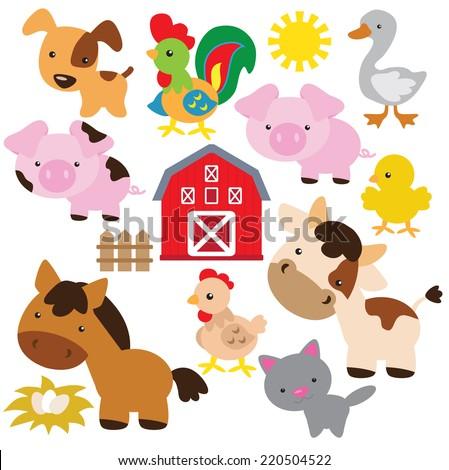 Farm animals vector illustration - stock vector