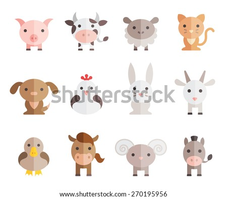 farm animals vector set on white background - stock vector