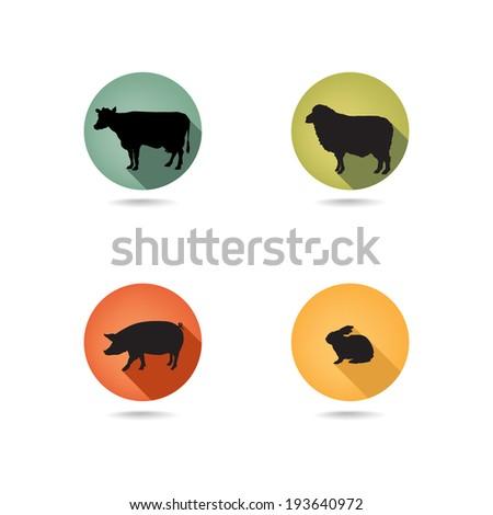 Farm animals. Vector set silhouette. Livestock icons. - stock vector