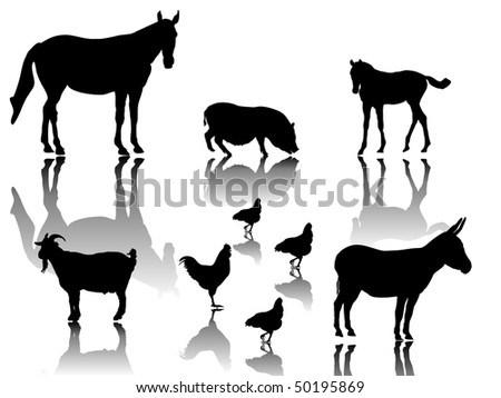 farm animals with shadows and white background - stock vector
