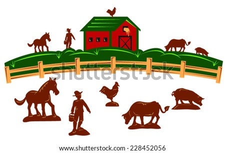 Farm barn with fence and farmer and horse, cow, pig, chicken - stock vector