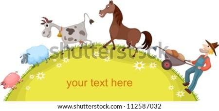 farm card - stock vector