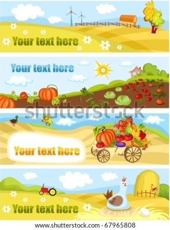 farm cards - stock vector