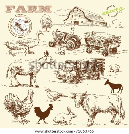 farm collection-handmade drawing - stock vector