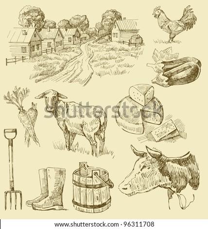 farm collection-handmade drawing - stock vector