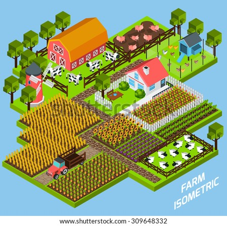 Farm complex constructive toy blocks composition with farmhouse backyard surrounded by fiels and pasture isometric vector illustration - stock vector