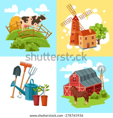 Farm design flat concept set with cow and haystack windmill and tree horse and barn and garden tools isolated  vector illustration