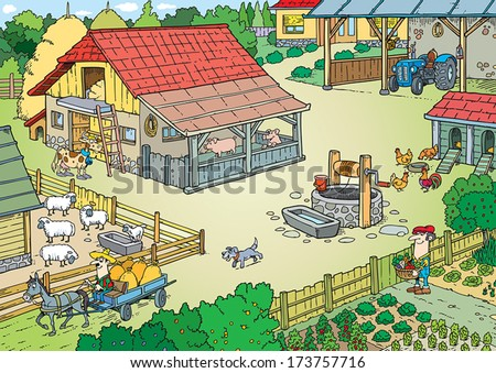 Farm Family with background. - stock vector