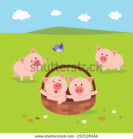 Farm. Farm. Little piglets. Cute piglets playing happily. - stock vector