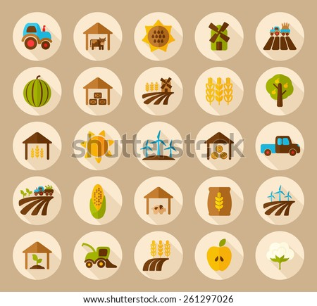 Farm Field flat icon with long shadow - stock vector