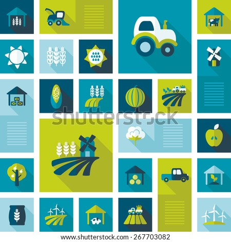Farm Field flat icon with long shadow. Design elements for mobile and web applications