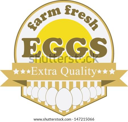 Farm fresh eggs.Vector label - stock vector