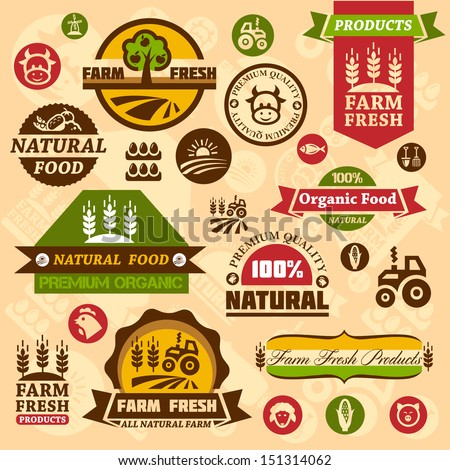 Farm fresh labels. Organic Farming isolated vector sign set. - stock vector