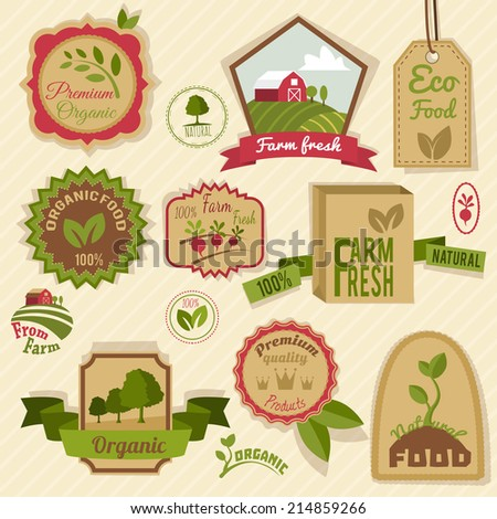 Farm fresh natural products organic agriculture food vintage labels set isolated vector illustration - stock vector