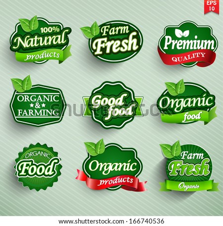 Farm fresh, organic food label, badge or seal - stock vector