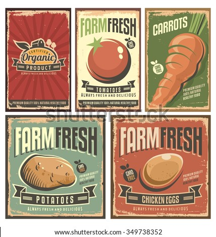 Farm fresh organic products retro tin signs collection. Gmo free delicious vegetables vintage poster set.  - stock vector