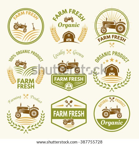 Farm fresh set vector vintage colored stock vector for Classic house labels