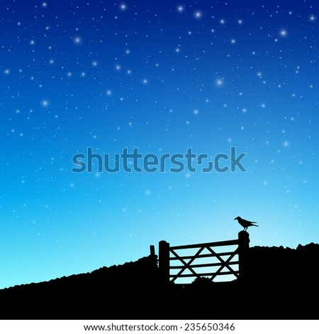 Farm Gate in Silhouette with Night Sky and Stars. - Vector EPS 10 - stock vector