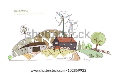 """Farm, green houses and harvest """"White city"""" collection - stock vector"""