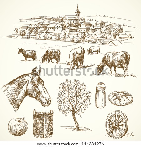 farm - hand drawn collection - stock vector