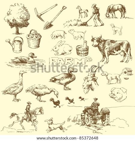 farm-hand drawn set - stock vector