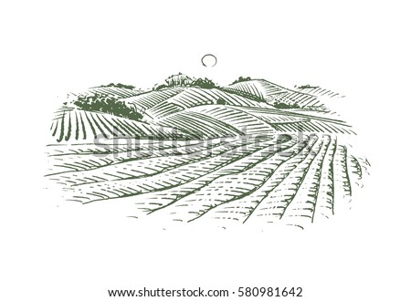 Farm Drawing Contemporary Barn Hills Stock Vector 580981642 Shutterstock Throughout