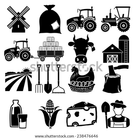Farm icon vector black on white background - stock vector