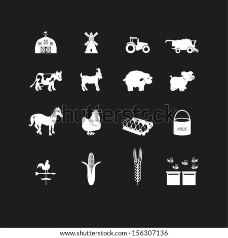 Farm icons set - stock vector