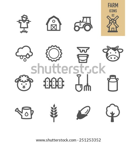 Farm icons. Vector illustration. - stock vector