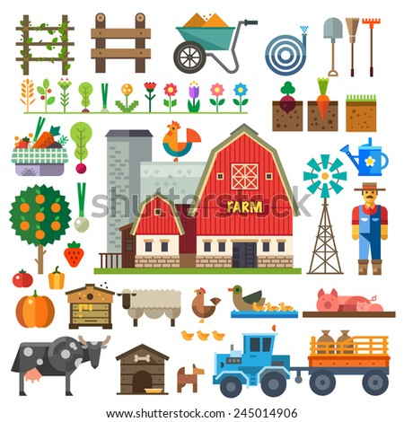 Farm in village. Elements for game: sprites and tile sets. Beds, tree, flowers, vegetables, fruits, hay, farm building, animals, farmer, tractor, tools. Vector flat  illustrations - stock vector