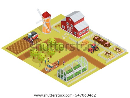 Farm isometric template with garden trees animals agricultural vehicles farmers mill and greenhouse vector illustration