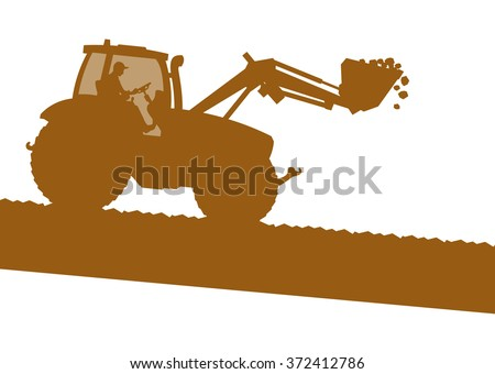 Farm landscape excavator machine ground work vehicle construction site abstract vector background - stock vector