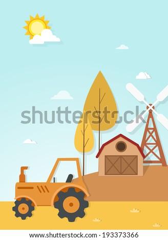 farm landscape scene vector - stock vector