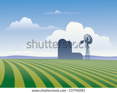 Farm landscape showing rows of crops and silhouette of farm buildings including windmill., - stock vector