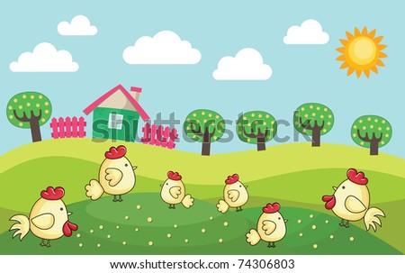 farm landscape. vector illustration - stock vector