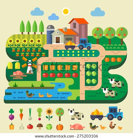 Farm life, country house. Village garden with tractor and windmill. Fruits and vegetables: pumpkin, tree, apple, sunflower, cabbage, tomato. Animals: pig, duck, cow, chicken. Vector flat illustration - stock vector