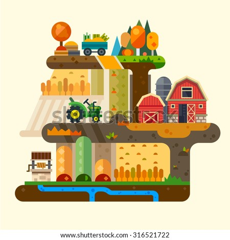 Farm life: natural economy, agriculture, seeding, watering, autumn harvesting. Village landscapes with farm building, tractor, well, field, garden, trees. Vector flat illustration  - stock vector