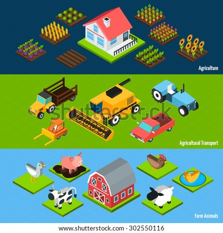 Farm livestock animals and agricultural transport machinery and tractors isometric horizontal banners set abstract isolated vector illustration - stock vector