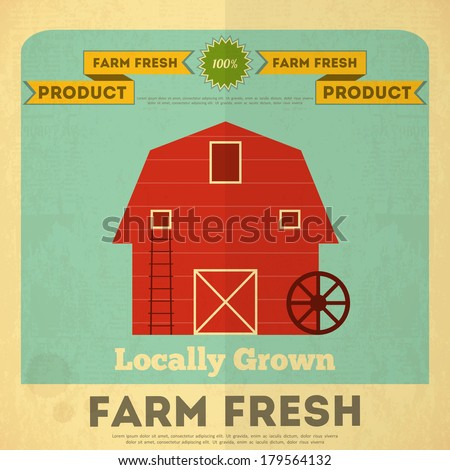 Farm Organic Food Poster. Retro Placard with Red Barn House. Vector Illustration. - stock vector