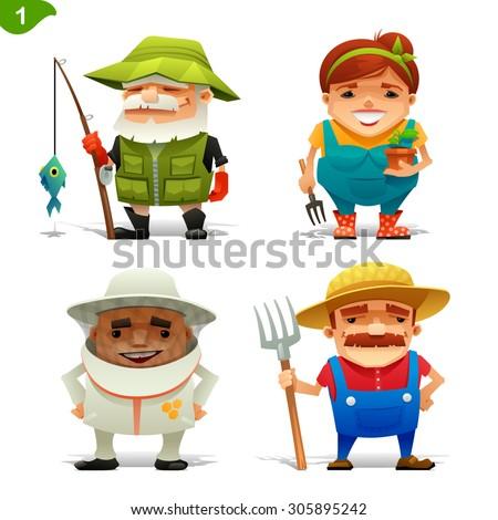 Farm professions set-1 - stock vector