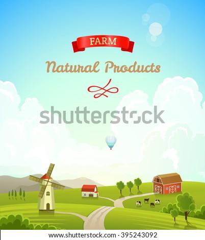 Farm rural landscape. Farm background. Farm landscape illustration. Farm landscape background. Farmland concept. Concept of fresh, natural products - stock vector