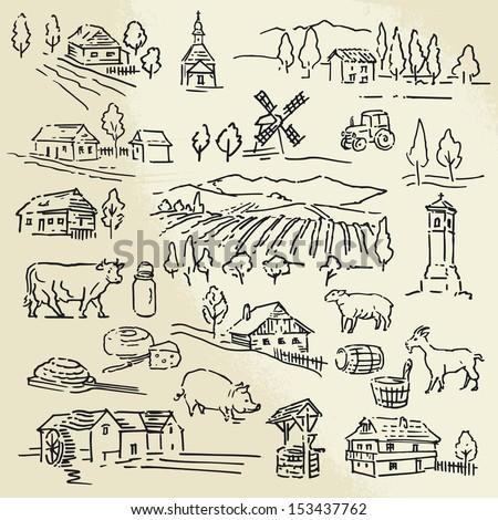 farm, rural landscape - sketches - stock vector