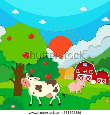 Farm scene with animals and barn illustration