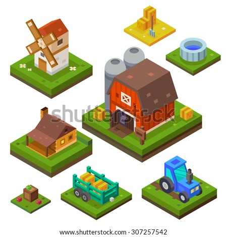 Farm set in isometric view. Attributes for agriculture in the countryside. Farm building.  Farmhouse, mill, country house and a tractor. Vector flat illustration - stock vector