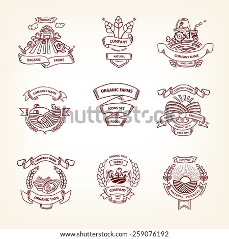 Farm set of illustrations or logo, organic food, ribbon banner, green plant, business icon, healthy lifestyle. Retro-styled in line illustrations. - stock vector